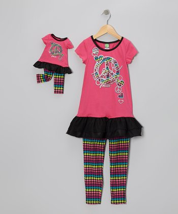 Hot Pink Peace Sign Tunic Set & Doll Outfit - Girls