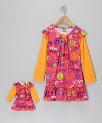 Pink & Orange Funky Fun Nightgown & Doll Outfit - Girls