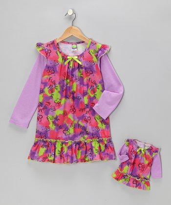 Purple Daisy Nightgown & Doll Outfit - Girls