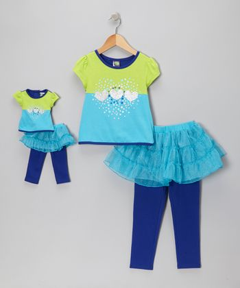 Green & Blue Heart Skirted Leggings Set & Doll Outfit - Girls