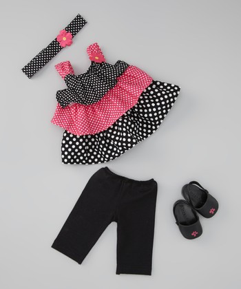 Pink & Black Polka Dot Headband & Doll Outfit