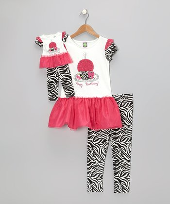 Fuchsia Cupcake Dress Set & Doll Outfit - Girls
