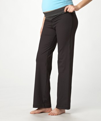 Black & Heather Gray Under-Belly Maternity Pants - Women