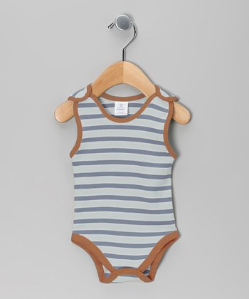 Gray & Orange Stripe Bodysuit - Infant