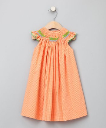 Orange Gingham Alligator Bishop Dress - Infant, Toddler & Girls