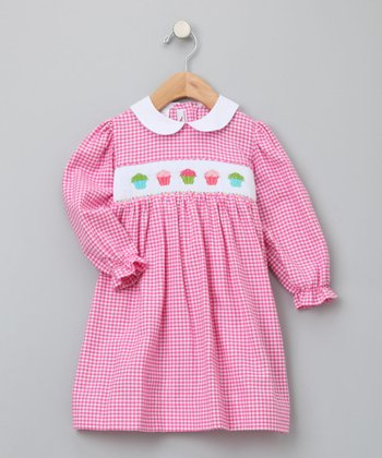 Pink Cupcake Bishop Long-Sleeve Dress - Infant, Toddler & Girls