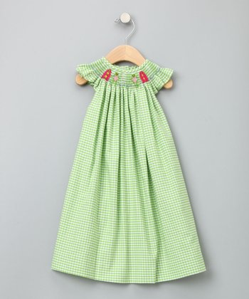 Green Gingham Surfing Frog Bishop Dress - Toddler