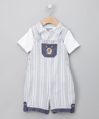 Blue Crew Stripe Polo & Shortalls - Infant
