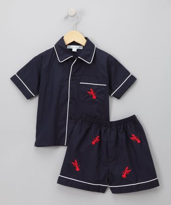 Navy Lobster Shorts Set - Infant, Toddler & Kids
