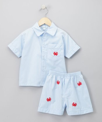 Jeanine Johnsen - Light Blue Crab Ethan Shorts Set 18-24 months