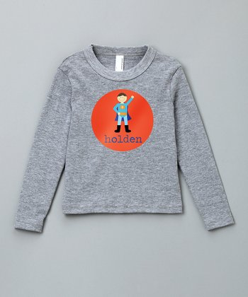 Gray Boy Personalized Long Sleeve Tee - Toddler & Boys