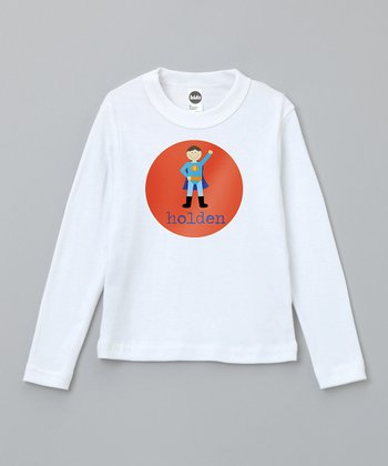 Orange Brown-Haired Super Boy Personalized Tee - Toddler & Boys