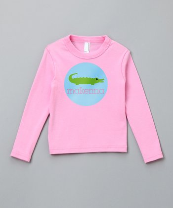 Pink Gator Personalized Long Sleeve Tee - Girls