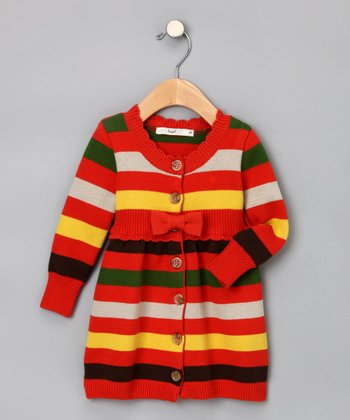 Coral Striped Cardigan - Toddler & Girls