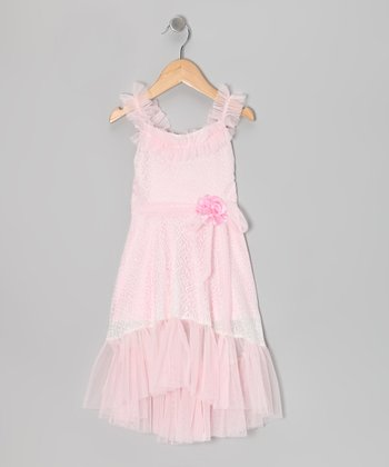 White & Pink Sash Ruffle Dress - Toddler & Girls