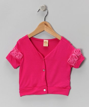 Hot Pink Rosette Cropped Cardigan - Toddler & Girls