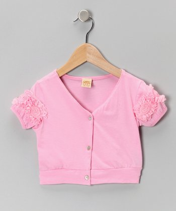Pink Rosette Cropped Cardigan - Toddler & Girls