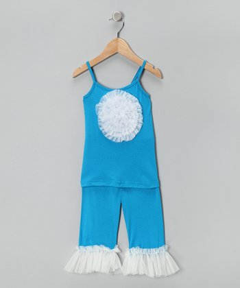 Turquoise & White Ruffle Tunic & Leggings - Girls