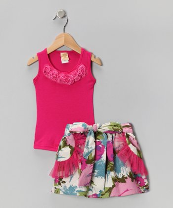 Hot Pink Rosette Tank & White Garden Skirt - Toddler & Girls