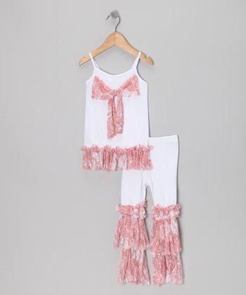 White & Dusty Rose Tunic & Ruffle Leggings - Toddler