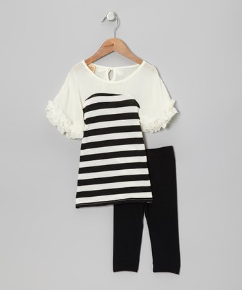 Black & Crème Stripe Ruffle Tunic & Leggings - Toddler