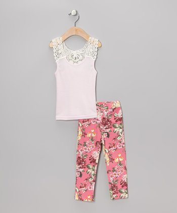 Pink Crochet Tank & Hot Pink Floral Jeggings - Toddler & Girls