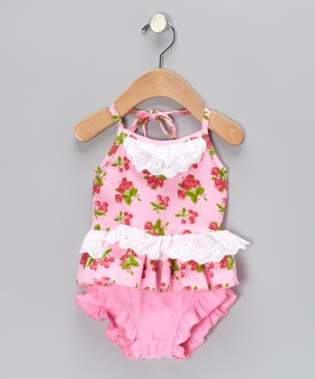 Pink Cherry Vintage Lace Skirted One-Piece - Infant & Toddler