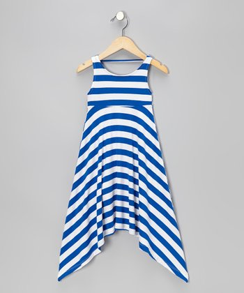 Blue & White Stripe Sidetail Dress - Toddler & Girls