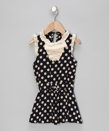 Navy & Crème Polka Dot Ruffle Dress - Toddler