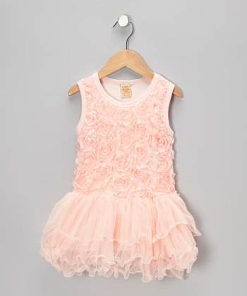 Pink Rosette Tier Tulle Dress - Girls