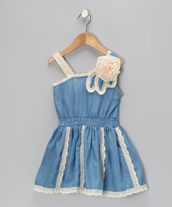 Denim Crochet Rosette Dress - Toddler & Girls