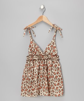 Crème & Pink Leopard Surplice Dress - Toddler & Girls