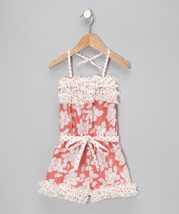 Coral Floral & Polka Dot Ruffle Romper - Toddler & Girls