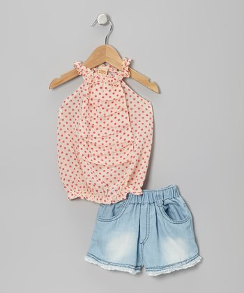 Crème & Pink Polka Dot Top & Denim Lace Shorts - Toddler & Girls