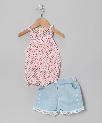 White & Red Polka Dot Top & Denim Lace Shorts - Toddler