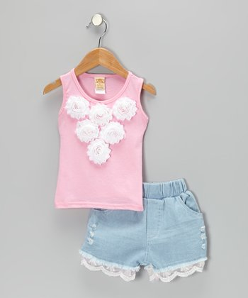Pink Rosette Tank & Lace Denim Shorts - Toddler & Girls
