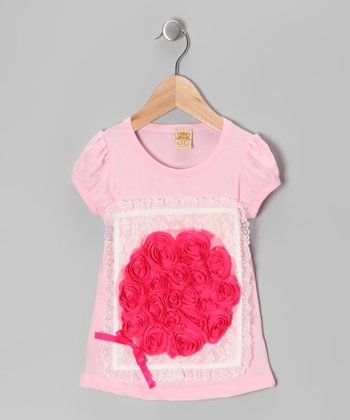 Pink & Hot Pink Lace Flower Puff-Sleeve Tee - Toddler & Girls