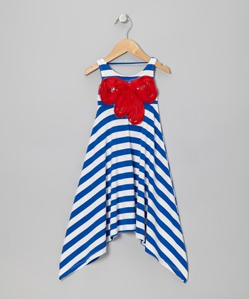 Blue & White Stripe Rosette Sidetail Dress - Toddler & Girls