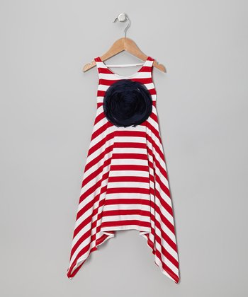 Red & White Stripe Rosette Sidetail Dress - Toddler & Girls