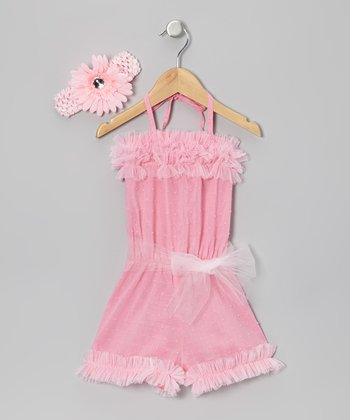 Pink Ruffle Jumper & Daisy Headband - Toddler & Girls