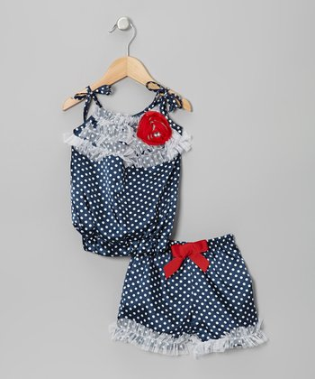 Navy & Crème Polka Dot Ruffle Top & Shorts - Toddler & Girls