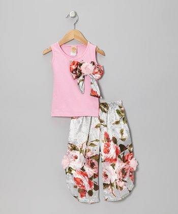 Pink Bow Tank & Silver Floral Palazzo Pants - Toddler & Girls