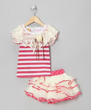 Hot Pink & White Stripe Ornate Top & Crème Tutu - Toddler & Girls