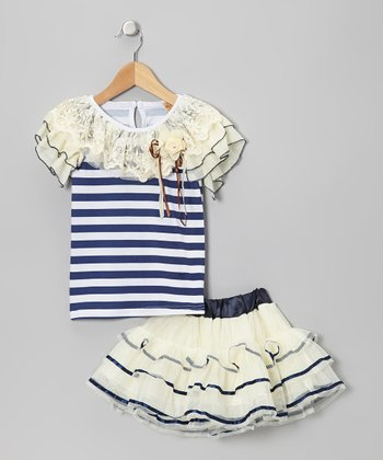 Navy & White Stripe Ornate Top & Crème Tutu - Toddler & Girls