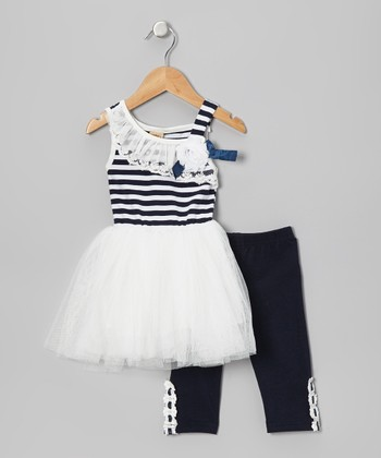 Navy & White Stripe Nautical Tutu Dress & Leggings - Toddler