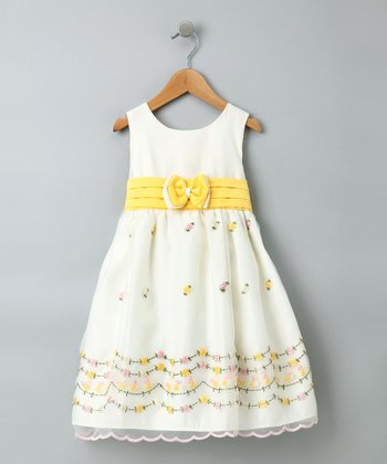 Yellow & Ivory Empire-Waist Sleeveless Dress