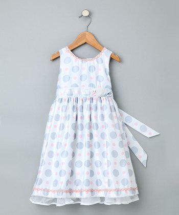 Gray & Pink Polka Dot Sleeveless Dress