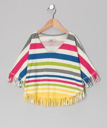 Rainbow Porto Stripe Deborah Organic Poncho - Toddler & Girls