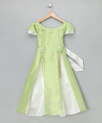 Light Green Rosette Dress - Girls