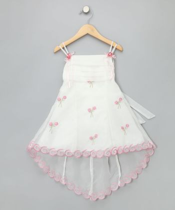 Ivory & Pink Flower Dress - Toddler